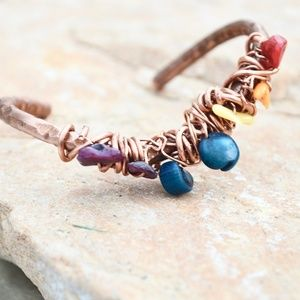 Rainbow Chakra Healing Copper Cuff Coral Bracelet